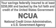 Your savings federally insured to at least $250,000 and backed by the full faith and credit of the United States Government. NCUA, National Credit Union Administration, a U.S. Government Agency.